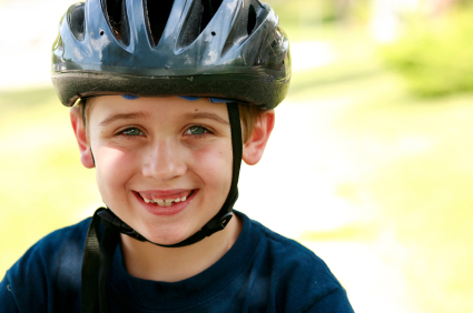 Boy with helmet on